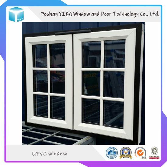 PVC/UPVC/ Vinyl Sliding Window with Tempered Glass Made in Foshan City