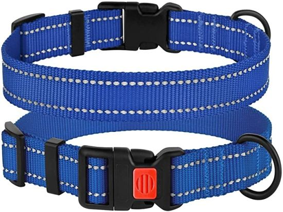 Reflective Dog Collar with Buckle Adjustable Safety Nylon Collars