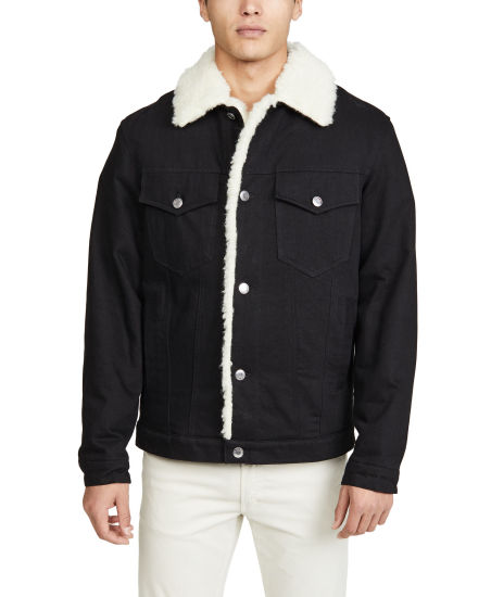 Wholesale Custom Mens Jacket&Coat Trendy Warm Fleece Thick Denim Jacket Fashion Winter Outwear Male Cowboy