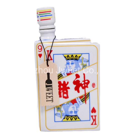 700ml Wholesale Playing Cards Flat Empty Ceramic Wine Bottles