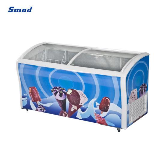 Commercial 538L Curved Sliding Glass Door Ice Cream Showcase Freezer