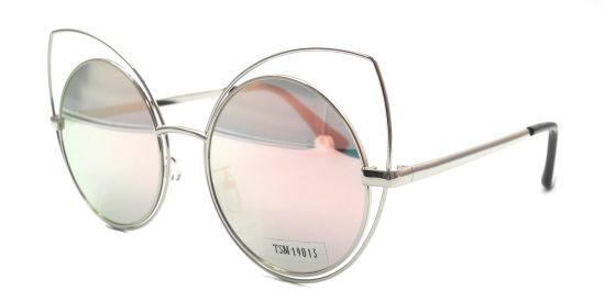 Stylish Cateye Sunglasses Front Round Polarized Mirror Lens