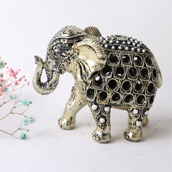 Wholesale Tabletop Resin Sliver Happy Elephant Statue Decoration Home Decoration