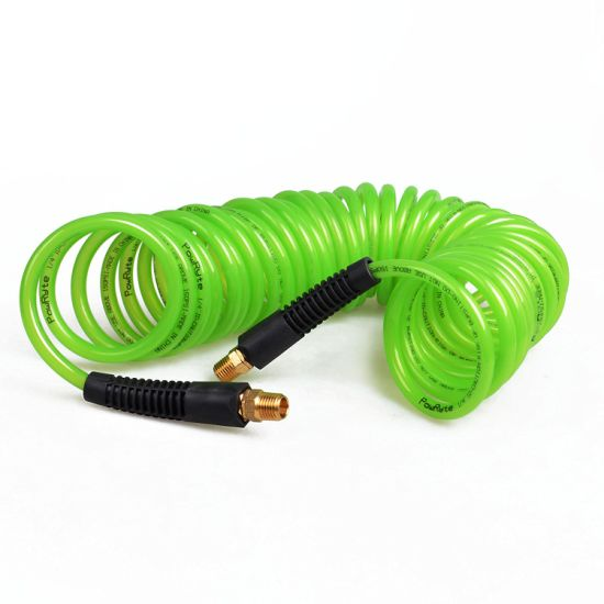 Recoil Polyurethane (PU) Air Hose - 1/4-Inch by 25-Feet, 1/4-Inch Brass Ends