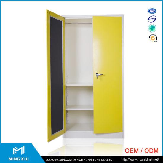 Mingxiu Steel Furniture Yellow 2 Door Steel Wardrobe Cabinet / Knock Down  Metal Almirah