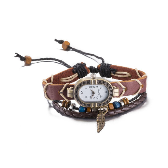 Western Vintage Leather with Watch Zinc Alloy material Bracelet