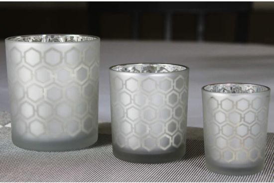 Silver Electroplated Carved Glass Candle Cup Glass Wishing Candle Holder for Christmas Gift