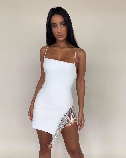 Women's Casual Skirt Nightclub Sling Tassel Stitching Sexy Dresses