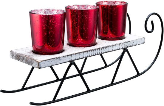 Red Mercury Glass Tealight Candle Holder Decorative Glass Sled Votive Candlestick