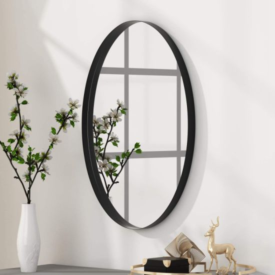 China Diy Market Store Wholesale Wall Mounted Matte Black Frame Mirror With Leather Strap China Mirror Frame Mirror