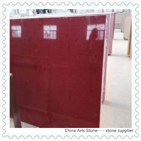 Silver Red Solid Surface Quartz For Countertop