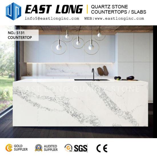 Factory Direct High Grade Calacatta Quartz Stone Slabs For Island  Countertops