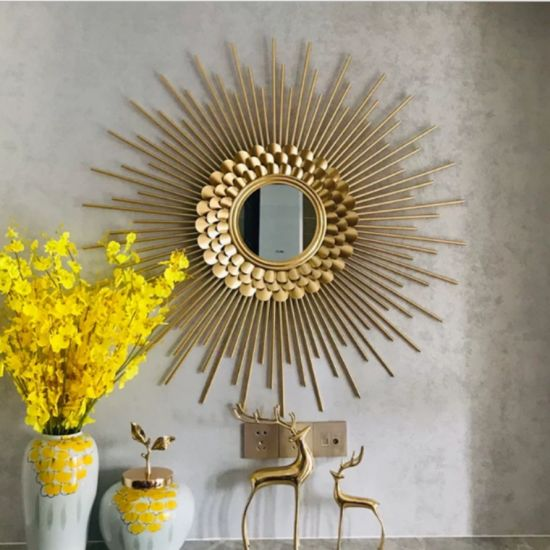 Ginkgo and Sun Mirror Wall Art Craft for Indoor Gift and Home Decoration