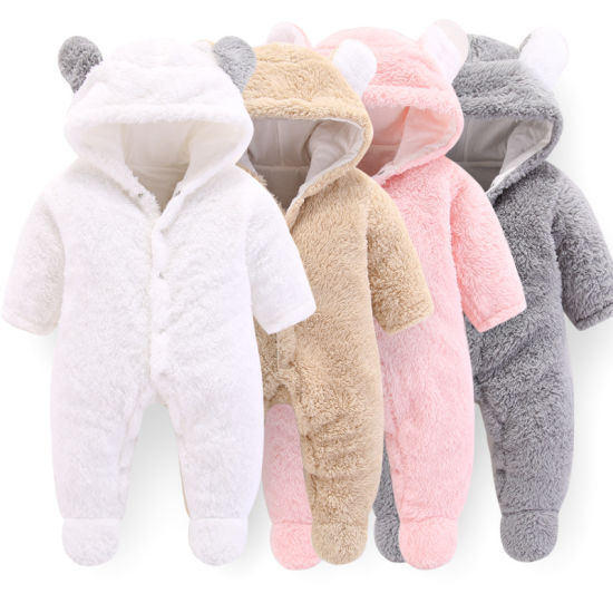 Newborn Baby Winter Hoodie Clothes Outwear Flannel Rompers