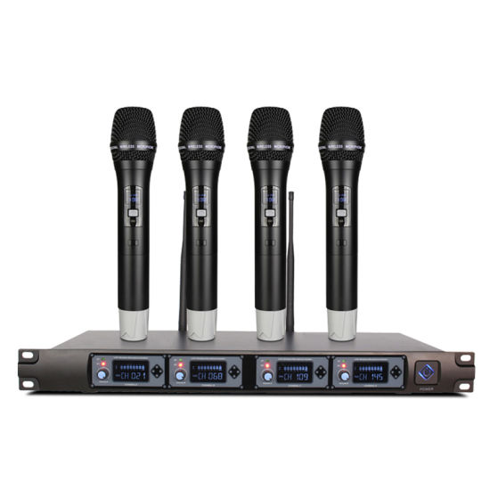 4 Wireless Microphone System UHF Professional Dynamic Microphone