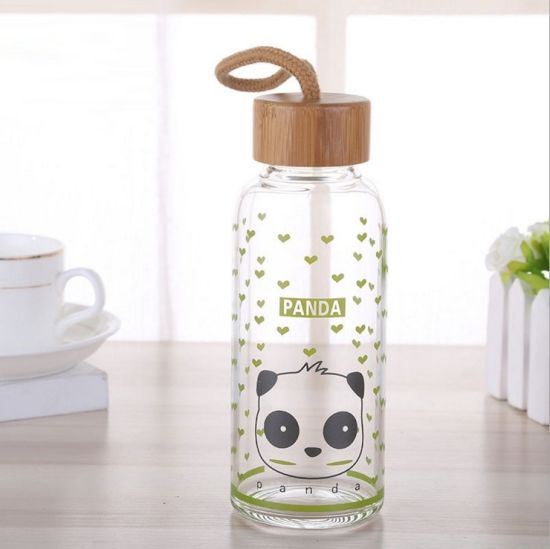 Wholesale 350ml Outdoor Cute Design Glass Water Bottle with Cap