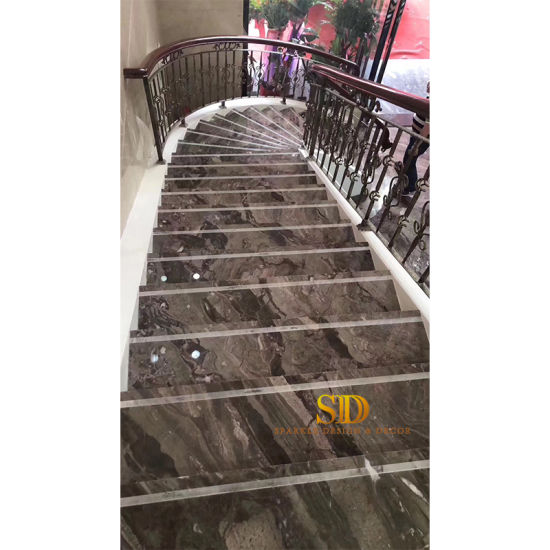Natural Brown Marble Staircase