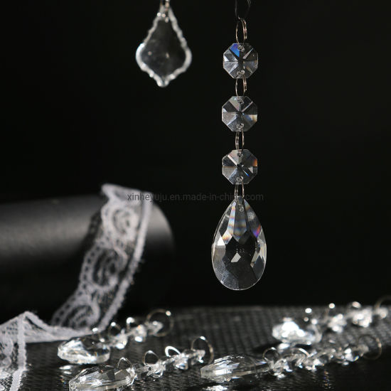 Clear Teardrop Crystal Pendants Parts Beads, Hanging Crystals for Chandeliers