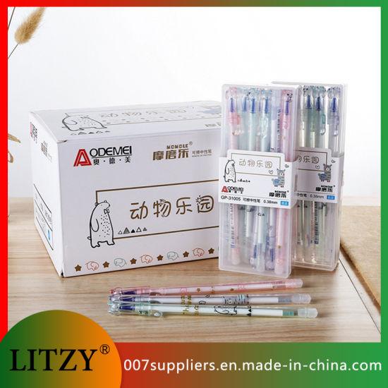 Wholesale Animal Paradise Erasable Pen Blue / Black Ink 0.38mm Erasable Gel Ink Pen Eraser for Stationery Supply