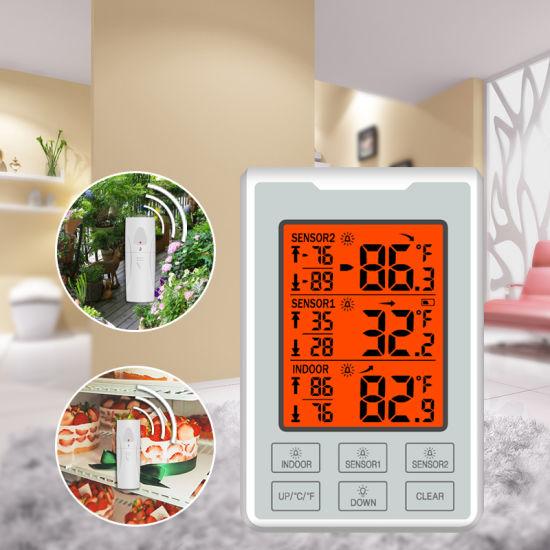 Wireless Digital Thermometer Indoor Refrigerator Freezer Audible Alarm+2 Sensor