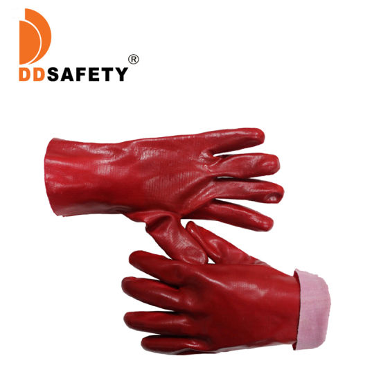 Red PVC Protection Gloves with Cotton Lining
