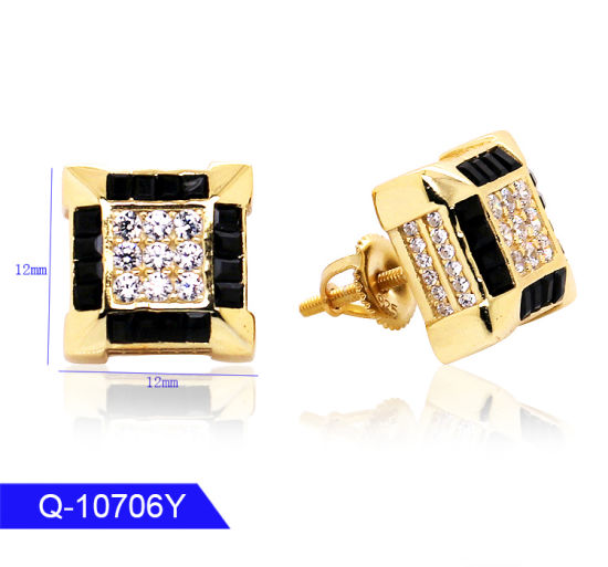 Mens Two Tone 14K Gold 925 Sterling Silver Cz Micro pave Square Earring Stud