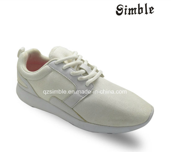 White Sneaker PU Upper Kids Sports Running Shoes with Mesh Upper Footwear