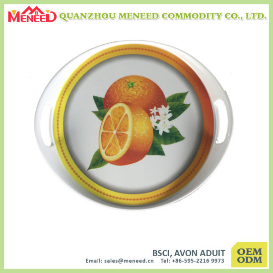 Round Shape Custom Design Full Print Melamine Trays pictures & photos