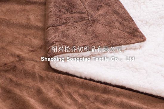 Mink with Shu Velveteen Sherpa Fleece Blanket -Little Brown pictures & photos