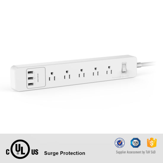 UL Relocatable Power Tap Power Strip 5 AC Outlets 3 USB Charging Ports