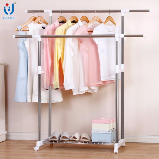 Fancy Garden Dress Rack Movable Bedroom Clothes Tree Stand