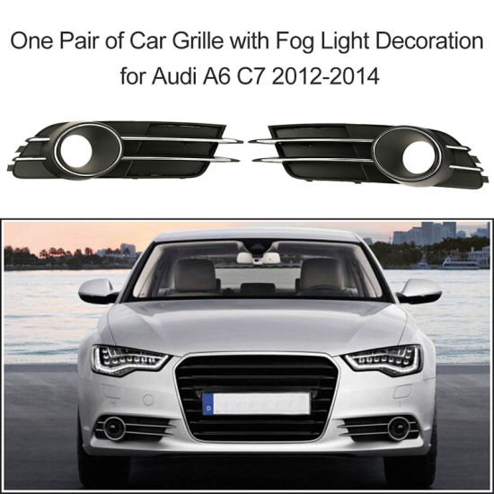 Car Lower Bumper Grille with Fog Light Decoration for Audi