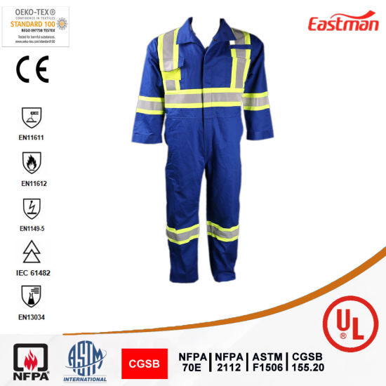 Oil and Gas Safety Blue Coverall Flame Resistant Reflective Coverall