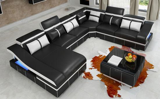 China Modern Sectional Leather Sofa with LED - China Big ...