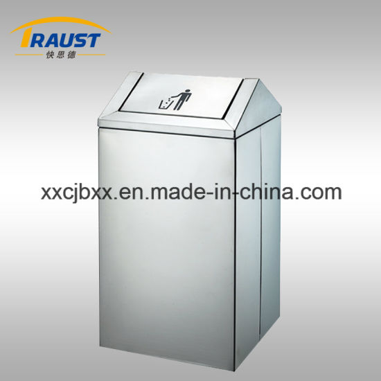43L Eco Friendly Stainless Steel Public Rubbish Barrel, Push Dustbins pictures & photos