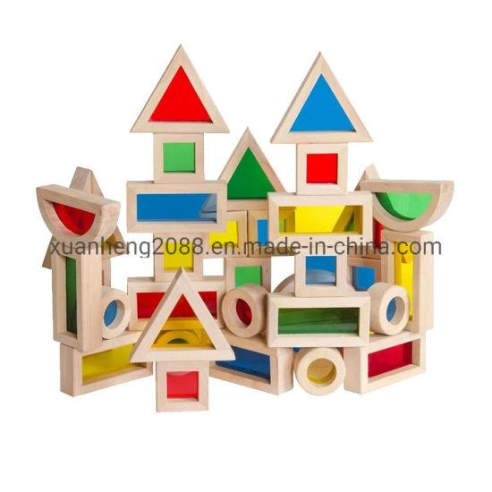 Preschool Kids Wooden Toys Big Rainbow Building Acrylic Blocks 16PCS Set Enlighten Brick Toys