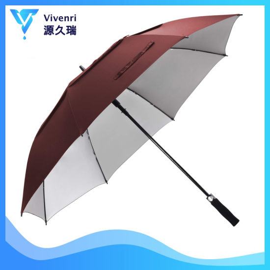Windproof Umbrellas, Auto Open 8 Ribs Double Layer Straight Golf Umbrellas