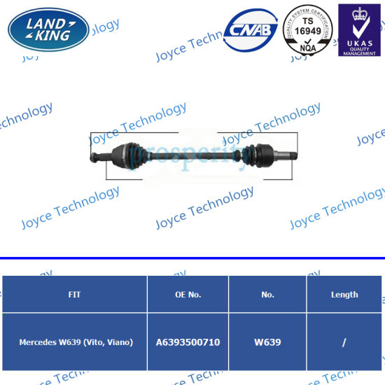 Factory CV Axle Drive Shaft OE: A6393500710 for Mercedes Benz W639 (Vito, Viano)