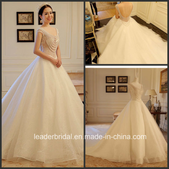 China 2017 Lace Bridal Gowns V-Neckline Cap Sleeves Pearls Stock ...