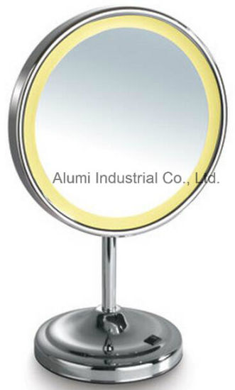 Hotel Stand Up LED Single Sided Magnifying Mirror