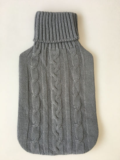 China Classic Grey Knitted Hot Water Bottle Cover China Knitted