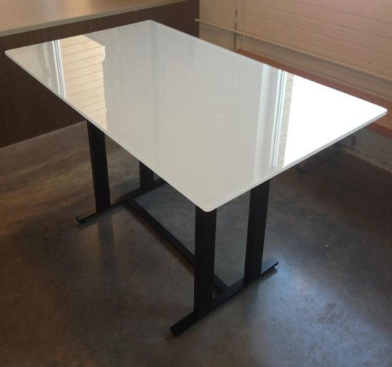China Best Rectangle Flat Polished Edge Frosted Printing Tempered Table Top  Glass Wholesale