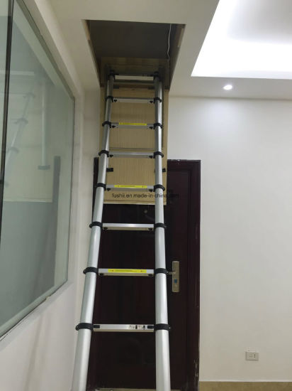 China Aluminum Loft Ladder Telescopic Attic Ladder Extension Loft Ladder China Telescopic Ladder And Aluminium Ladder Price