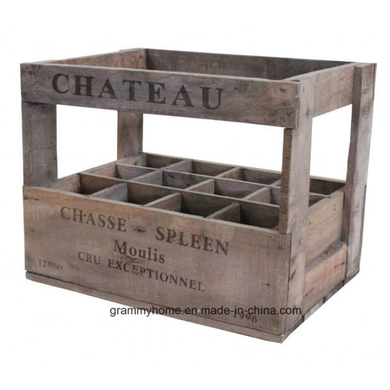 China Vintage Antique Style Wine Crate Box 12 Bottle Wooden