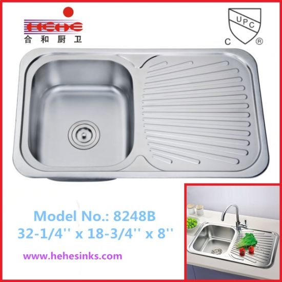 China Top Mount Kitchen Sink with Drain Board, Stainless Steel Sink ...