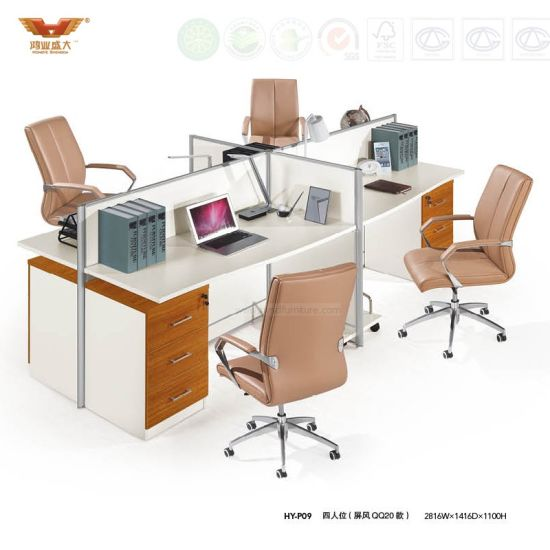 Modular 4 Person Workstation Desk Cubicle Office System (HY-P09) pictures & photos