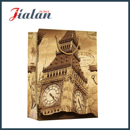 Big Ben Design 4c Paper Printed Shopping Carrier Gift Paper Bag