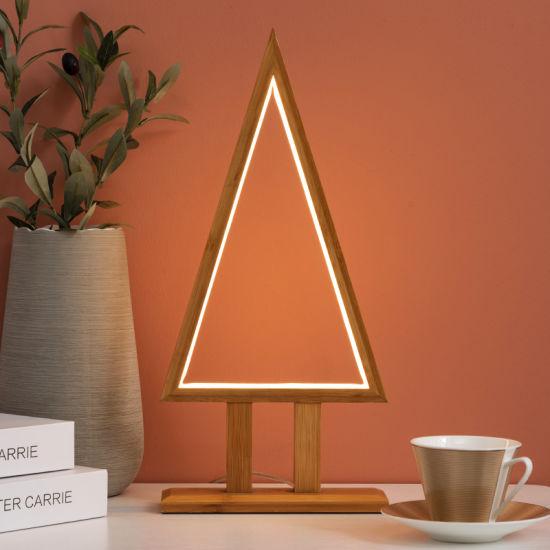 Bamboo Natural Color Triangular Large Table LED Lamp Furniture/Lighting/LED Lighting /Lamp/Decoration/ LED/Bulb/Tripod/