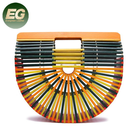 T127 Semicircular Colorful Hand-Woven Lady Bamboo Basket Beach Bag 2020 Leisure Simple Fashion Wicker Rattan Handbag for Women pictures & photos