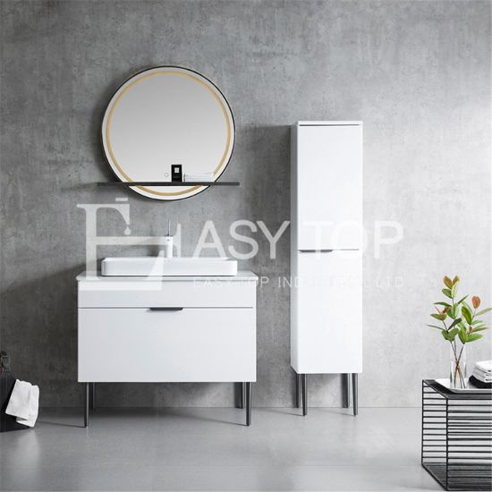 in Stock Chinese Hot Sales Popular Glossy White Floor Mounted One Sink Bathroom Cabinet Set